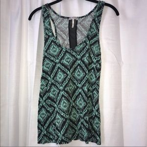 LA Hearts Patterned Mint and Black Tank Top
